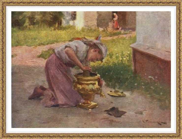 Николай Пимоненко Девушка с самоваром. Орловская картинная галерея