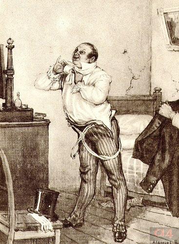 «Чичиков ушел в комнату одеться и умыться» (Приготовление к вечеринке у губернатора) А. П. Лаптев. 1935.